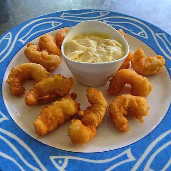 Colas de cigala en tempura